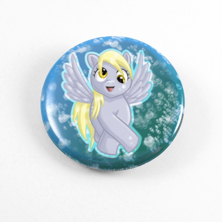 A cute chibi drawing by Camie M. Anderson of Derpy Hooves from My Little pony on a handmade button