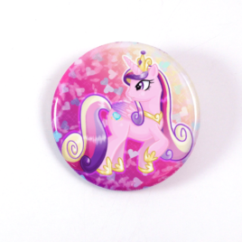 A cute chibi drawing by Camie M. Anderson of Princess Cadence from My Little Pony on a handmade button