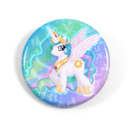 A cute chibi drawing by Camie M. Anderson of Princess Celestia from My Little Pony on a handmade button