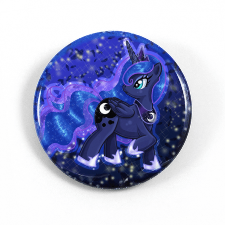 A cute chibi drawing by Camie M. Anderson of Princess Luna from My Little Pony on a handmade button