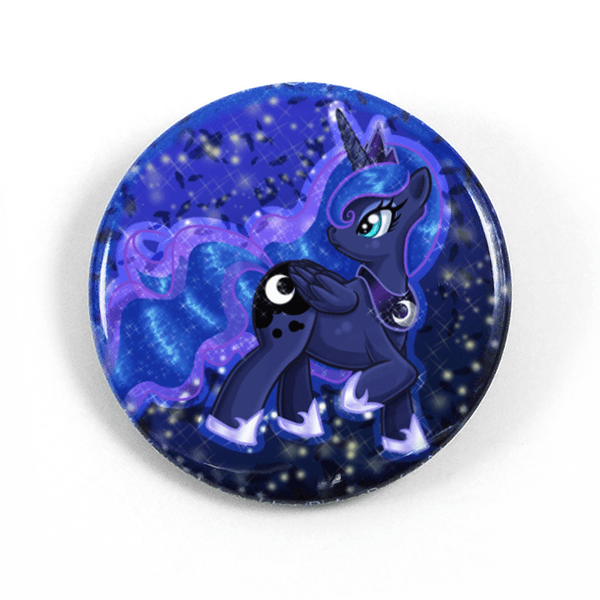 princess luna 1 5 pinback button or magnet picture purrfect art