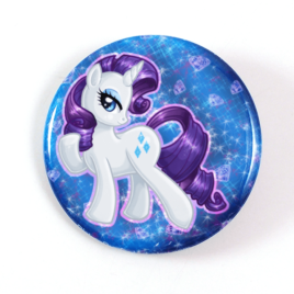 A cute chibi drawing by Camie M. Anderson of Rarity from My Little Pony on a handcrafted button