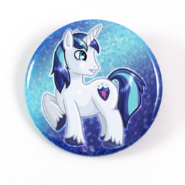 A cute chibi drawing by Camie M. Anderson of Shining Armor from My Little pony on a handmade button
