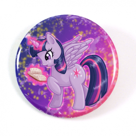 A cute chibi drawing by Camie M. Anderson of Twilight Sparkle from My Little Pony on a handcrafted button
