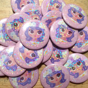 "1.5"" Holographic Pins made for Gabby Zapata. http://gabbyzapata.etsy.com/"