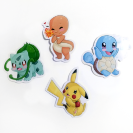 Kanto Starters 2″ Vinyl Sticker Set