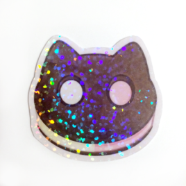 Cookie Cat 2″ Holographic Vinyl Sticker