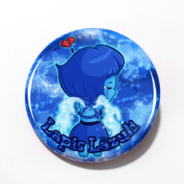 A cute chibi drawing by Camie M. Anderson of Lapis Lazuli from Steven Universe on a hnadmade button