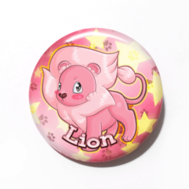 A cute chibi drawing by Camie M. Anderson of Lion from Steven Universe on a handmade button