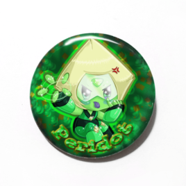 A cute chibi drawing by Camie M. Anderson of Peridot from Steven Universe on a handmade button