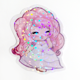 Rose Quartz 2″ Holographic Vinyl Sticker