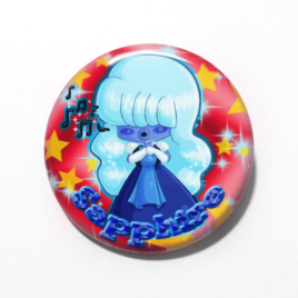 A cute chibi drawing by Camie M. Anderson of Sapphire from Steven Universe on a handmade button