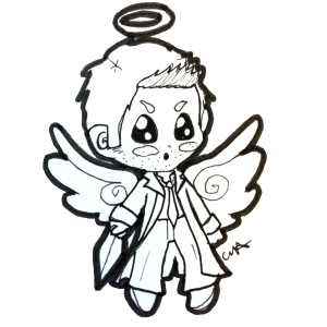 Itty Bitty Chibi traditional lineart example