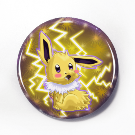 A cute chibi drawing by Camie M. Anderson of Jolteon from Pokemon on a handmade button