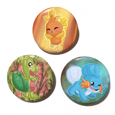 A set of three handmade buttons featuring the Hoenn Starters from Pokemon