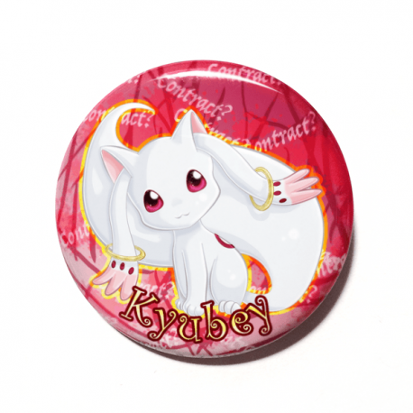 A cute chibi version of Kyubey from Puella Magi Madoka Magica drawn by Camie M. Anderson on a handmade button