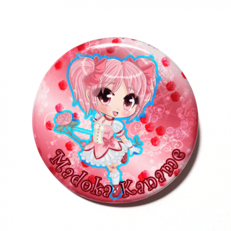 A cute chibi version of Madoka Kaname from Puella Magi Madoka Magica drawn by Camie M. Anderson on a handmade button
