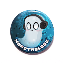 A cute chibi drawing on Napstablook by Camie M. Anderson on a handmade button