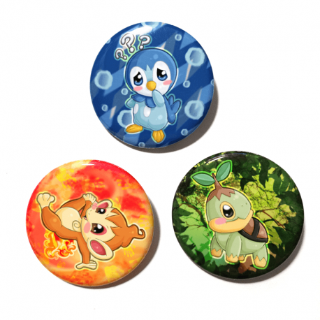 A set of three unique buttons featuring the Sinnoh starters from Pokemon