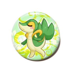 A cute chibi version of Snivy from Pokemon drawn by Camie M. Anderson on a handmade button