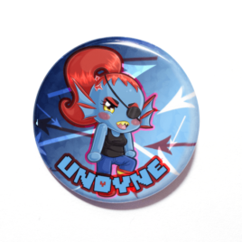 A cute chibi drawing of Undyne on a handmade button by Camie M. Anderson